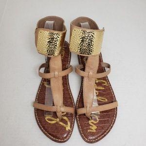 Sam Edelman Genette Tan Thong Ankle Wrap Sandals